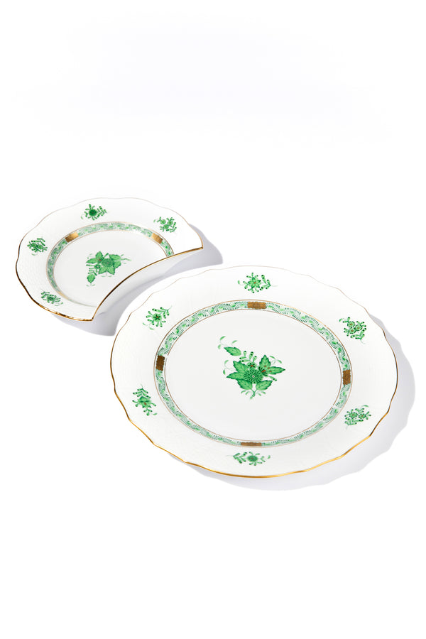 CHINESE BOUQUET GREEN CRESCENT SALAD PLATE