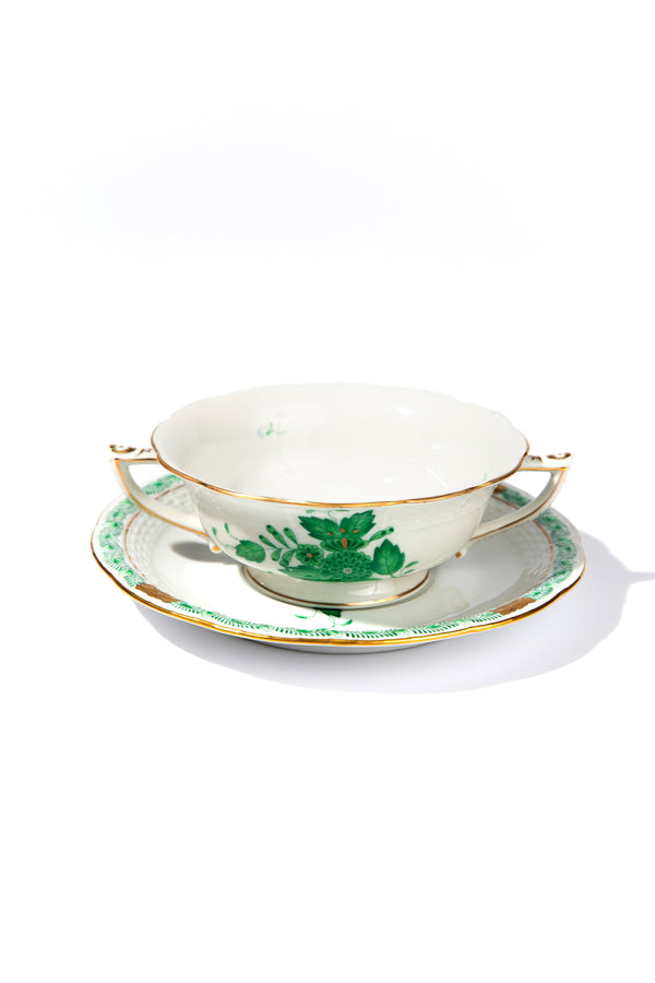 CHINESE BOUQUET GREEN CREAM SOUP & SAUCER