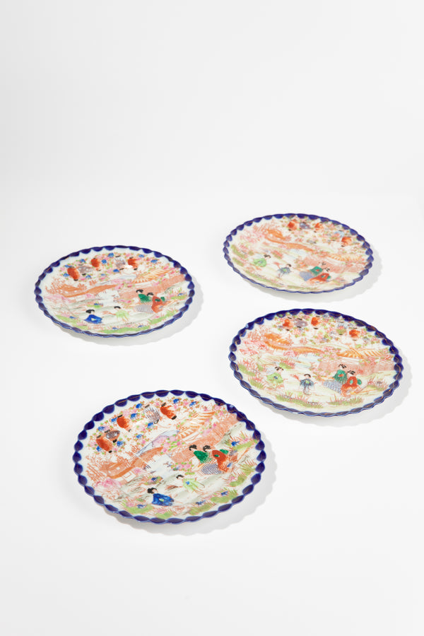 Set of 4 Vintage Blue Geisha Plates