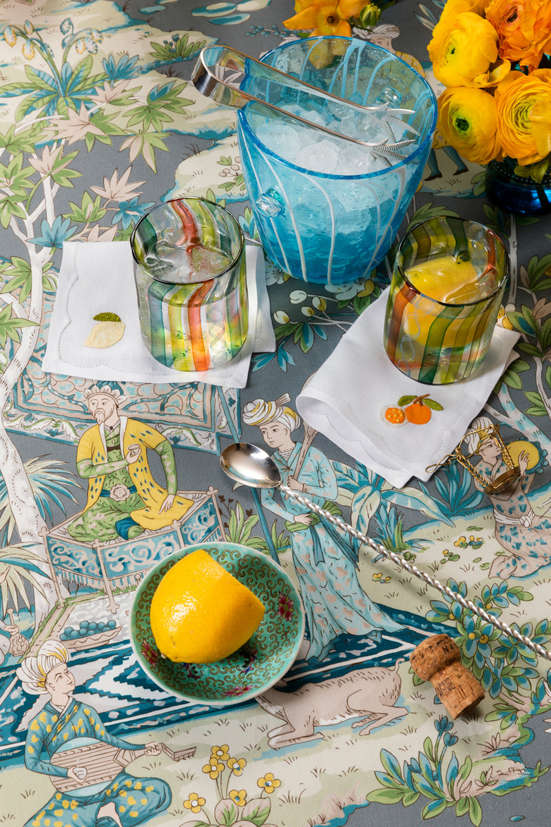 SET OF 4 CITRUS COCKTAIL NAPKINS