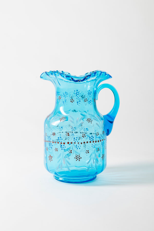 VINTAGE TURQUOISE BOHEMIAN GLASS PITCHER