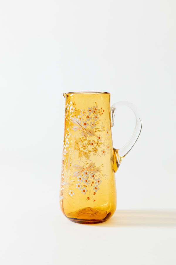 VINTAGE AMBER BOHEMIAN GLASS PITCHER