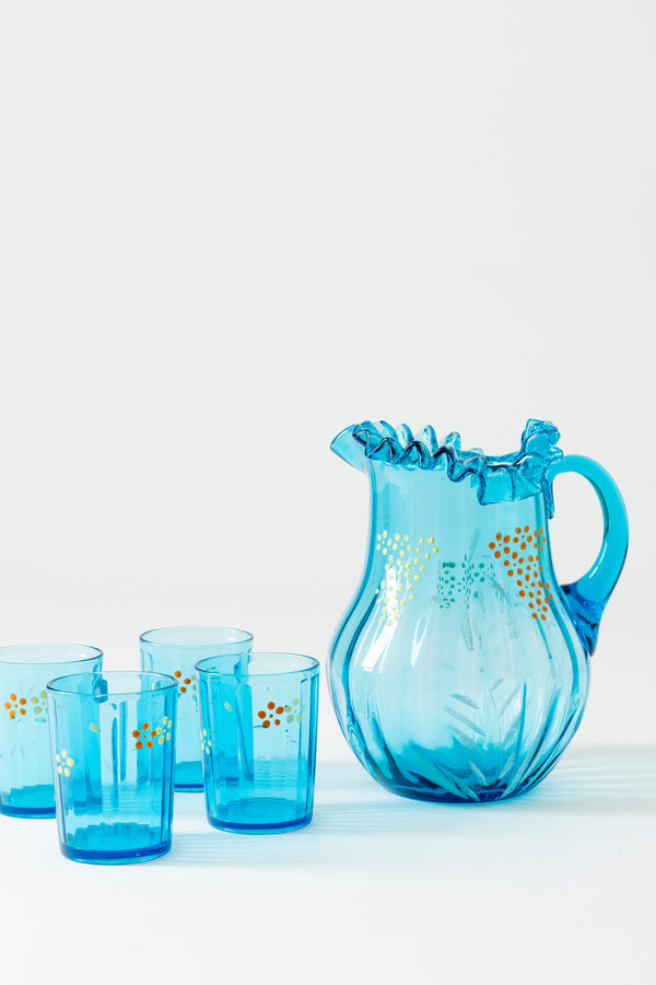 VINTAGE TURQUOISE BOHEMIAN PITCHER AND GLASSES
