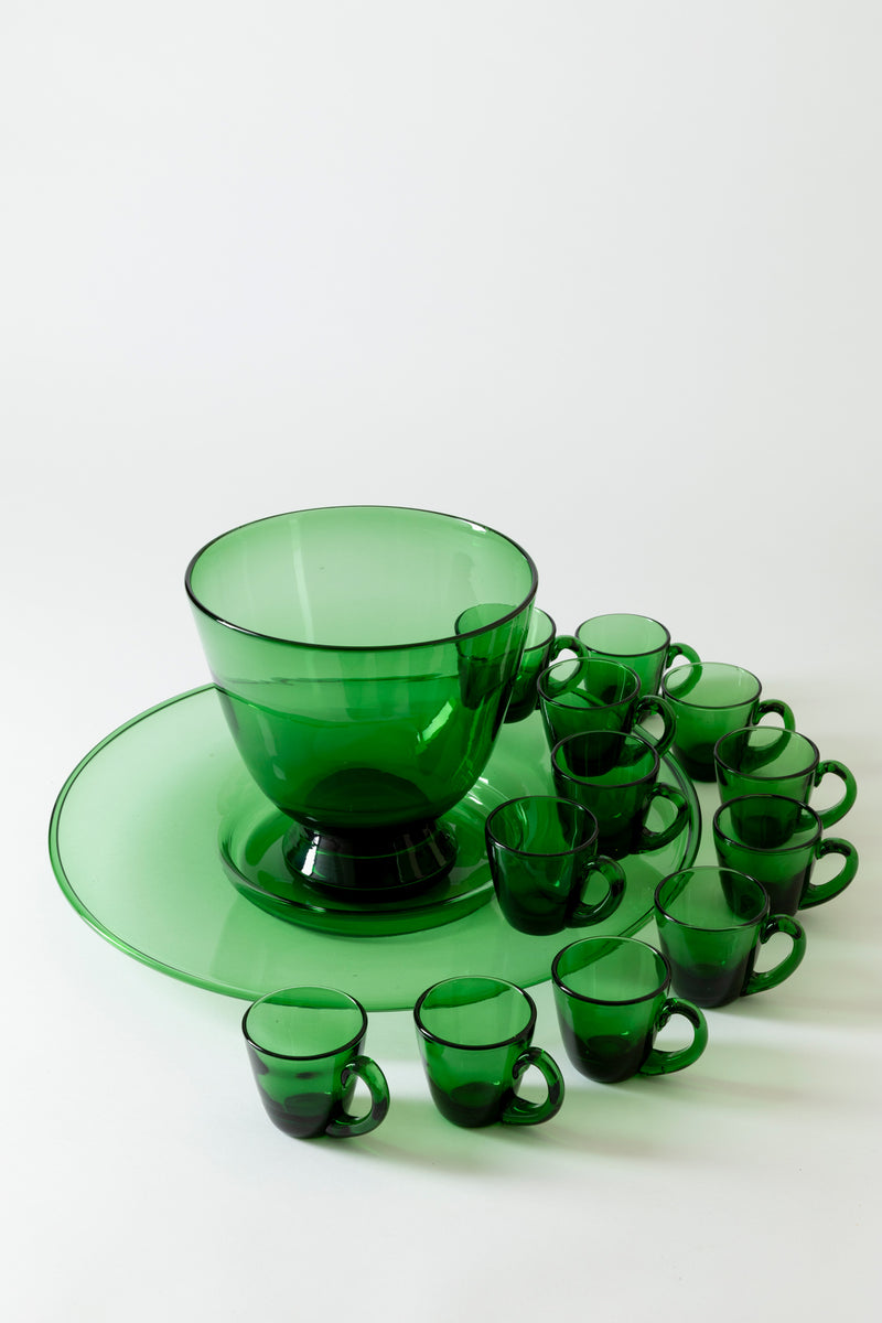 VINTAGE HAND BLOWN GLASS PUNCH BOWL SET