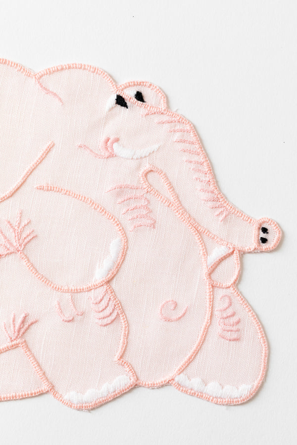 SET OF 4 PINK ELEPHANT COCKTAIL NAPKINS