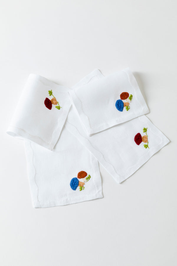 SET OF 4 SCHROOM COCKTAIL NAPKINS