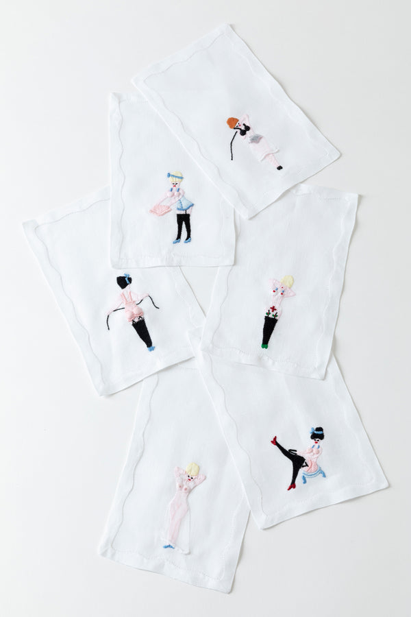 SET OF 6 HUSTLER COCKTAIL NAPKINS