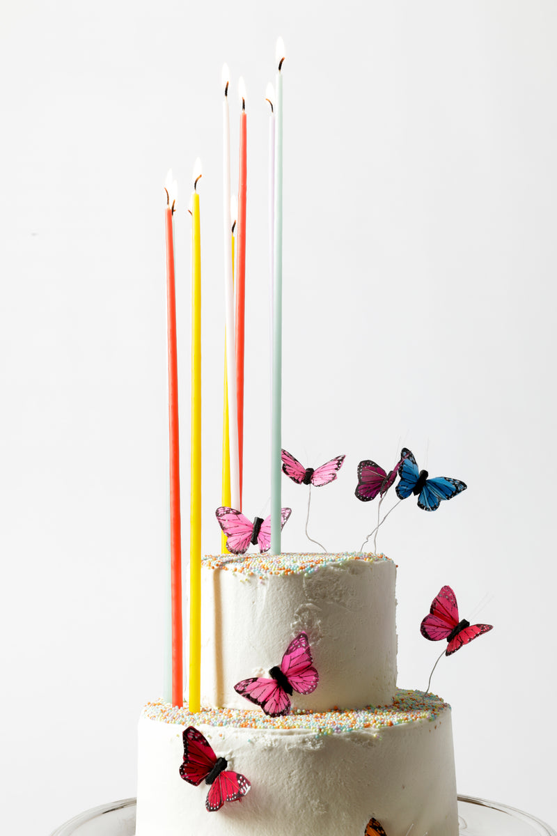 SET OF 12 TALL BIRTHDAY CAKE CANDLES