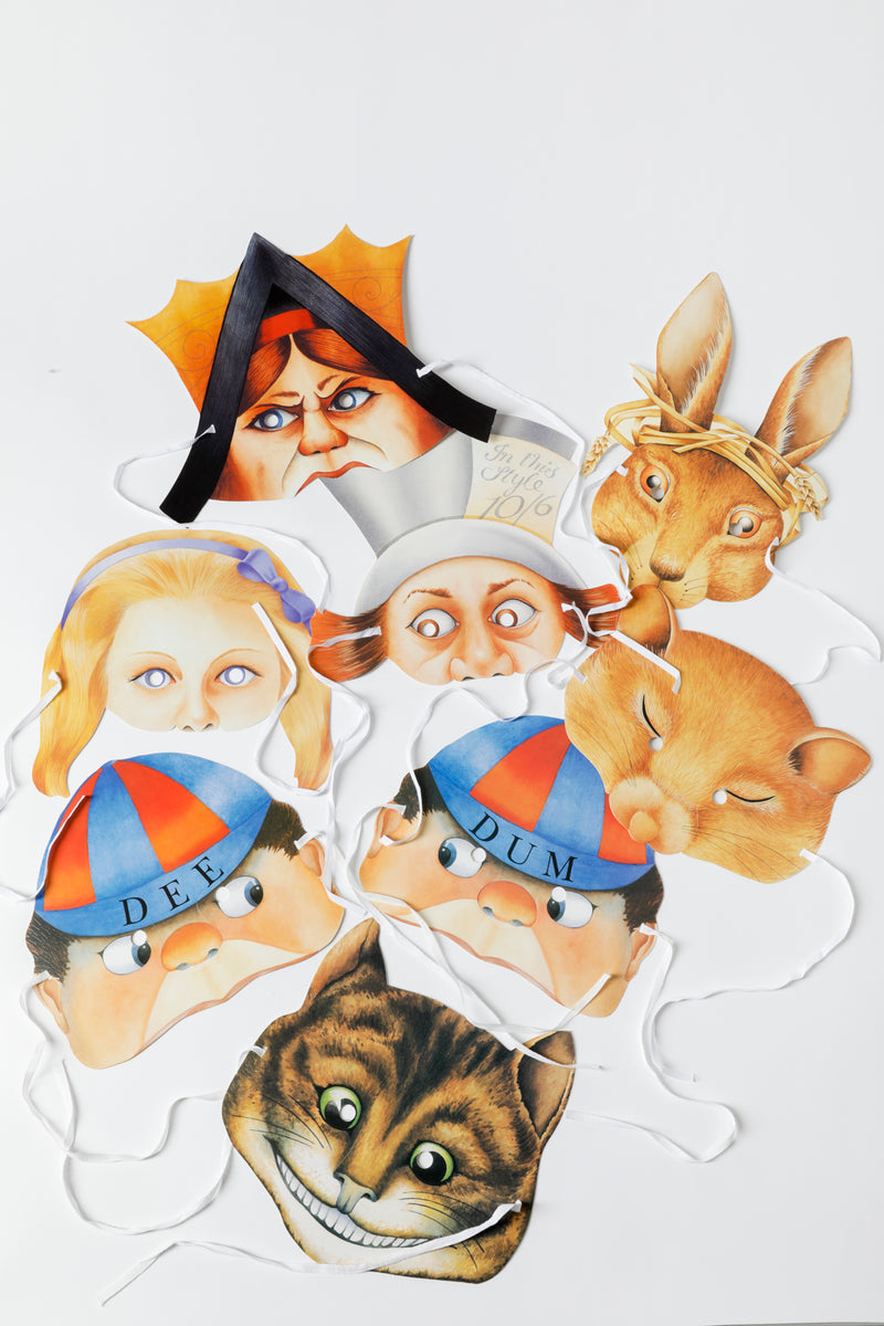 SET OF 8 ALICE IN WONDERLAND MASKS