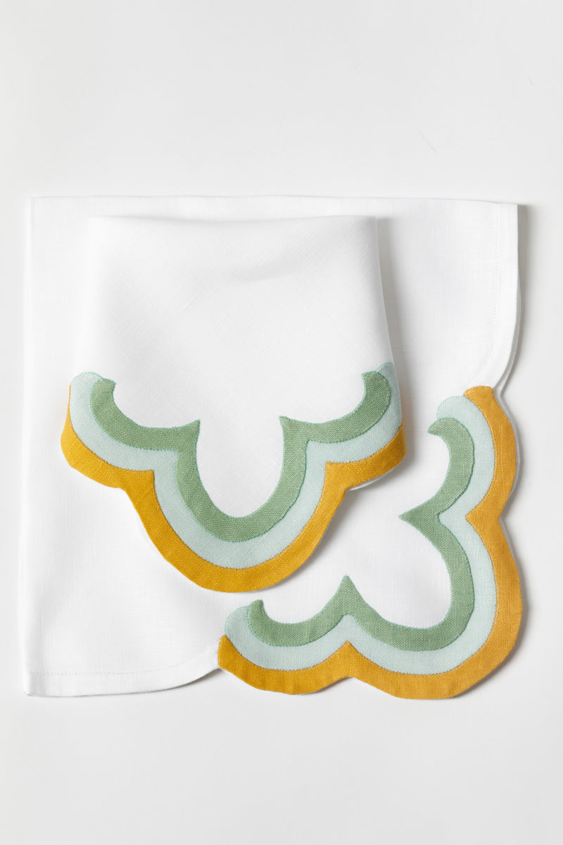 SET OF 2 SHERBET DINNER NAPKINS IN RAINBOW