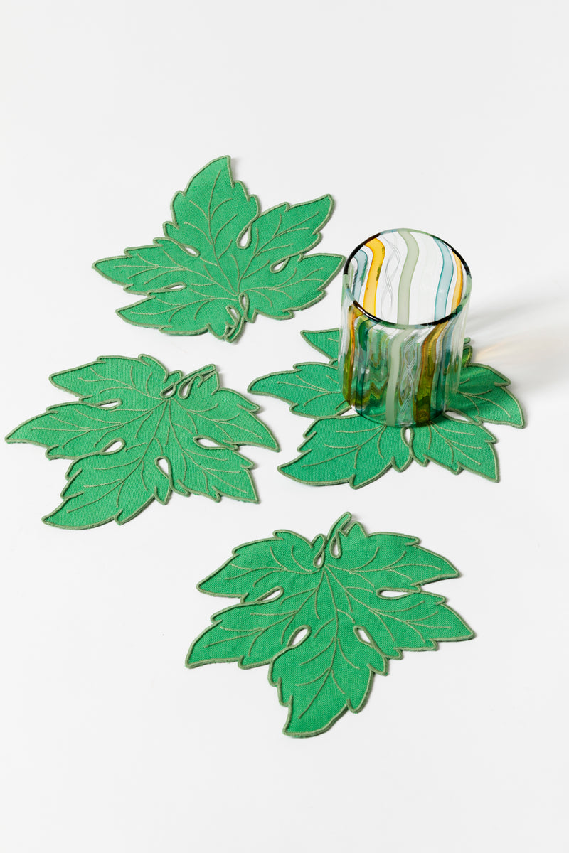 SET OF 4 FOLIAGE COCKTAIL NAPKINS