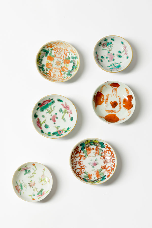 SET OF 6 VINTAGE CHINESE PORCELAIN BUTTER PATS