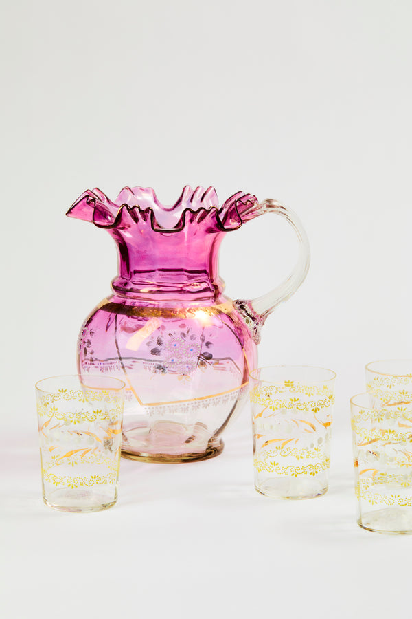 Vintage Ruffled Ombre Glass Pitcher & Tumblers