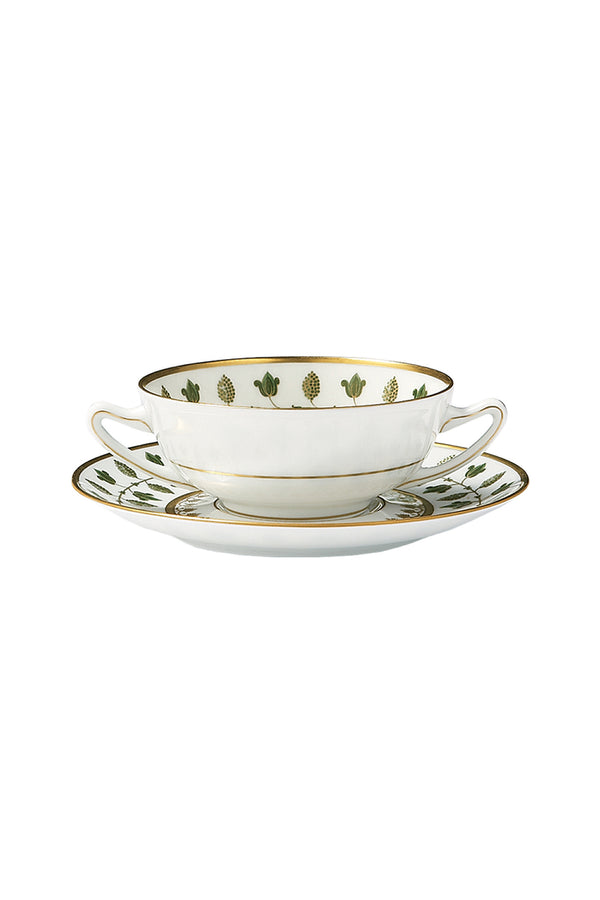 MATIGNON GREEN CREAM SOUP BOWL & SAUCER