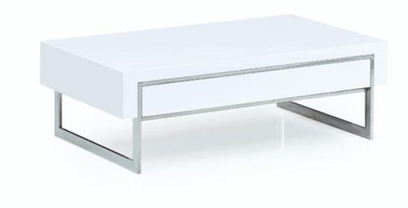 WHITE AND CROME COFFEE TABLE