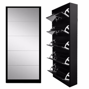 MIRRORED SHOE CABINET 5 TIER
