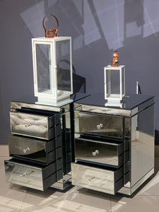MIAMI 3 DRAWER MIRRORED PEDESTAL