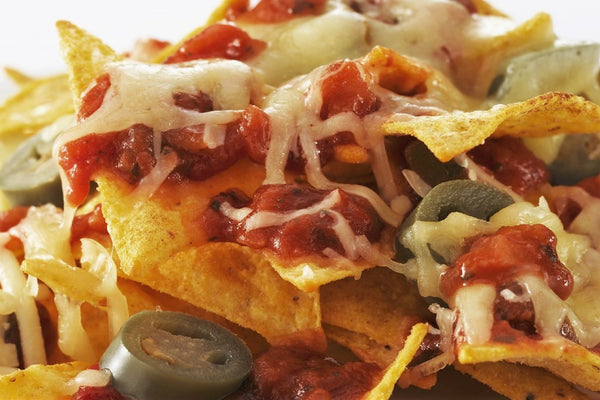 """NACHOS WITH CHEESE SAUCE & SALSA / RE-FRIED BEANS"" (Ready to Eat)"