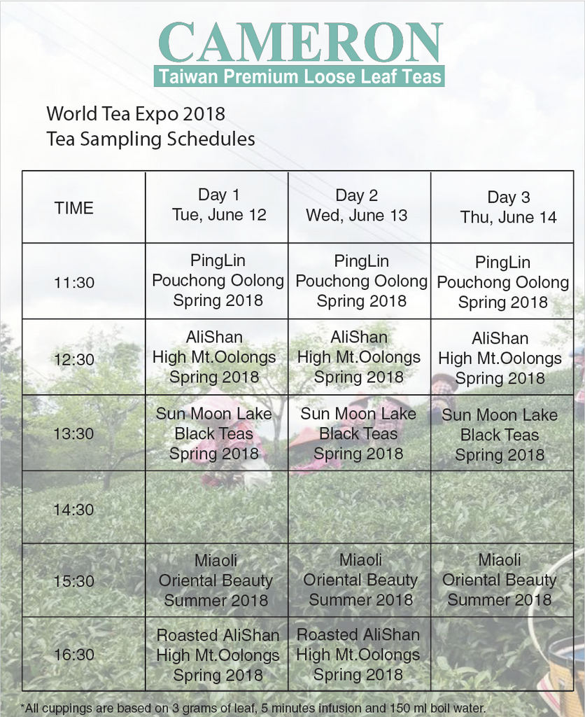 World Tea Expo 2018 - Tea Tasting Schedules
