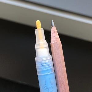 1mm bullet-point tip alongside pencil for comparison.