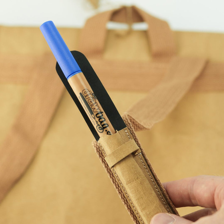 Classic paper leather DrawBag pen pocket and marker.