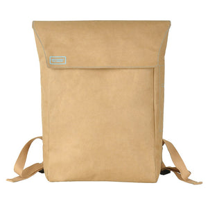 Brown Flip-Top paper leather DrawBag front.