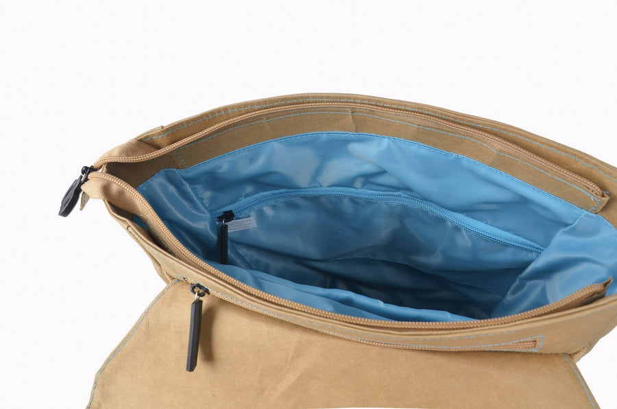 Brown Flip-Top paper leather DrawBag interior.