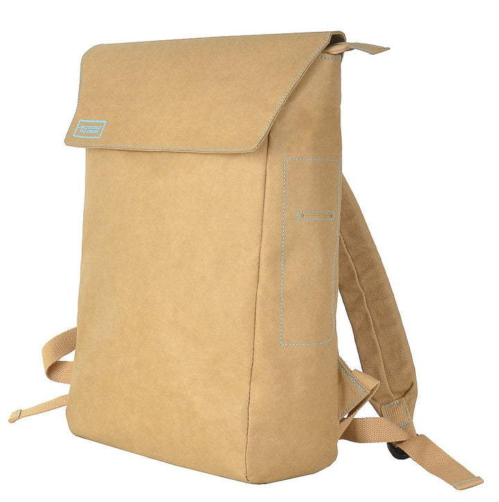 Brown Flip-Top paper leather DrawBag angle.