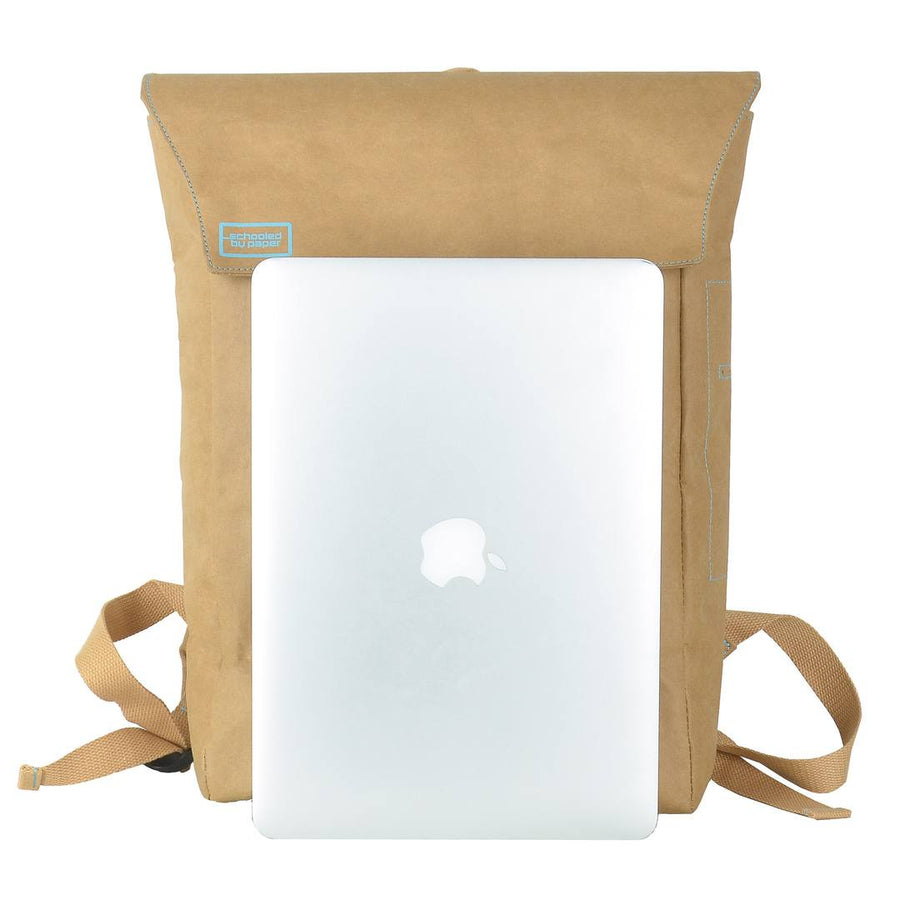 Brown Flip-Top paper leather DrawBag with laptop in front.