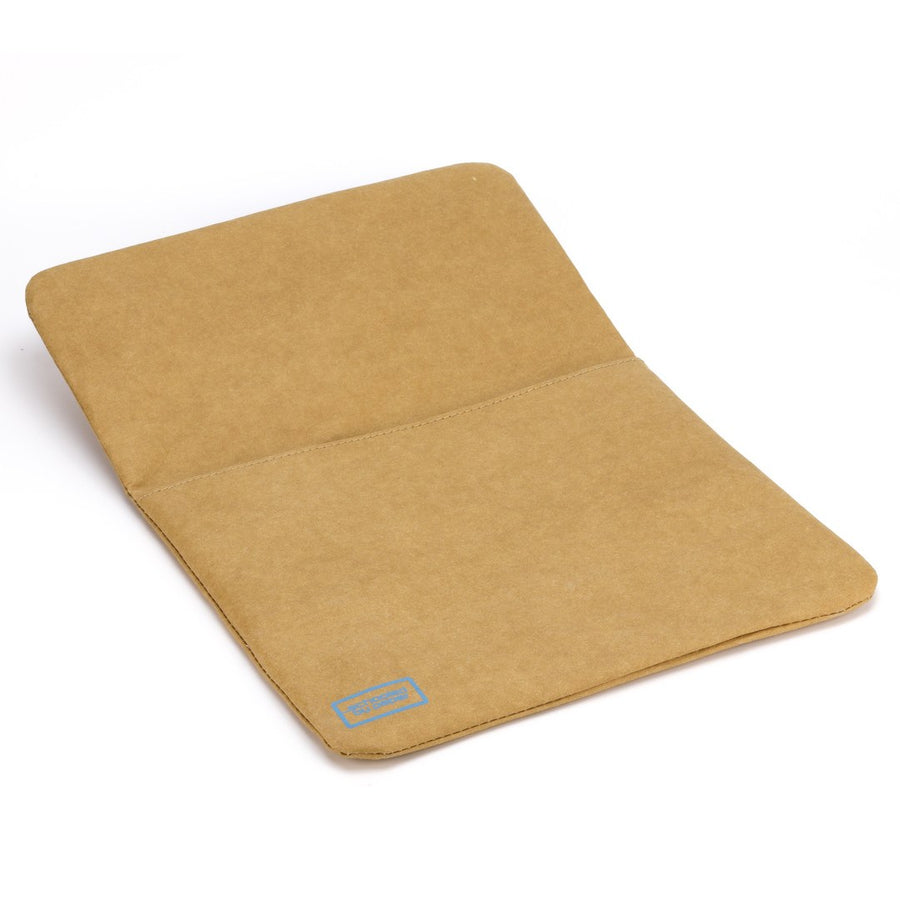 Paper leather DIY laptop tablet sleeve front with flat open.