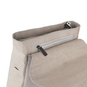 Grey Flip-Top paper leather DrawBag top flap.