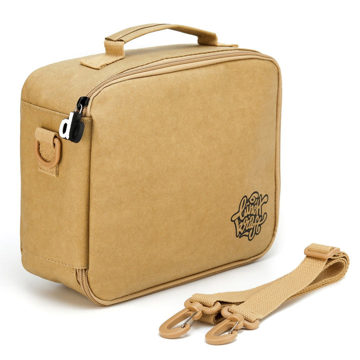 LunchKraft paper leather lunchbox angle.