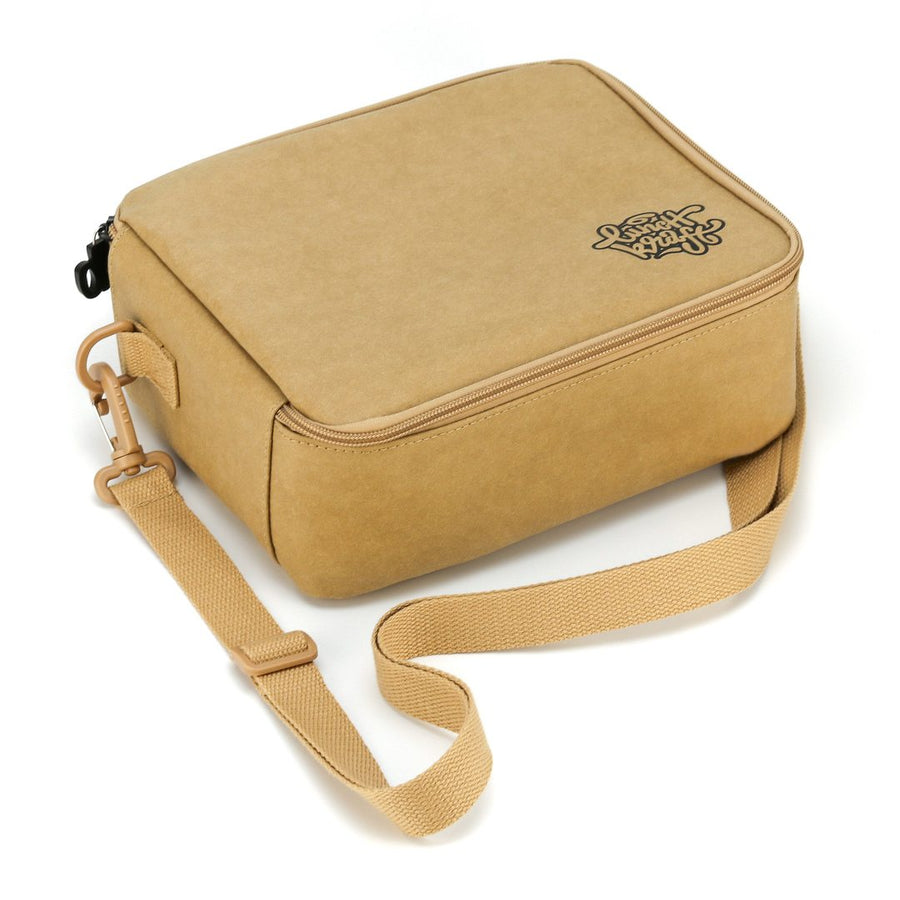 LunchKraft paper leather lunchbox lying flat..