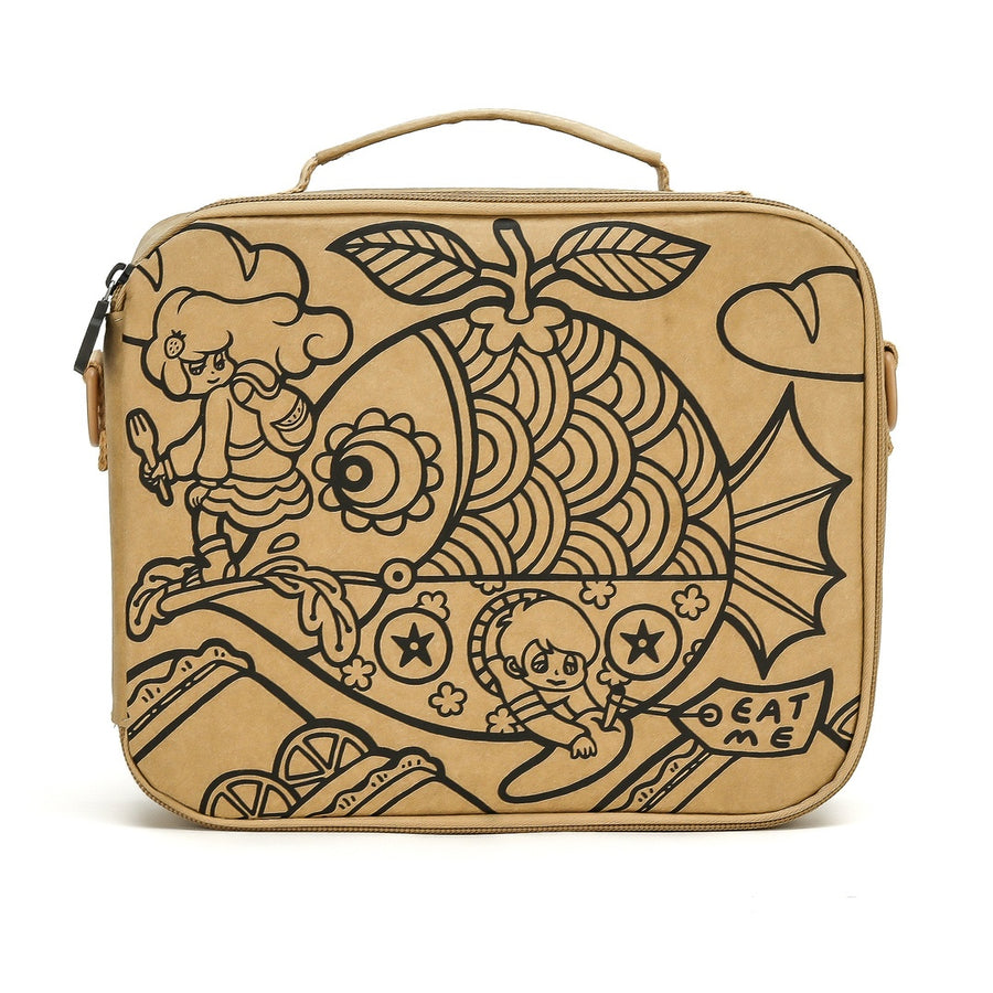 LunchKraft paper leather lunchbox front.