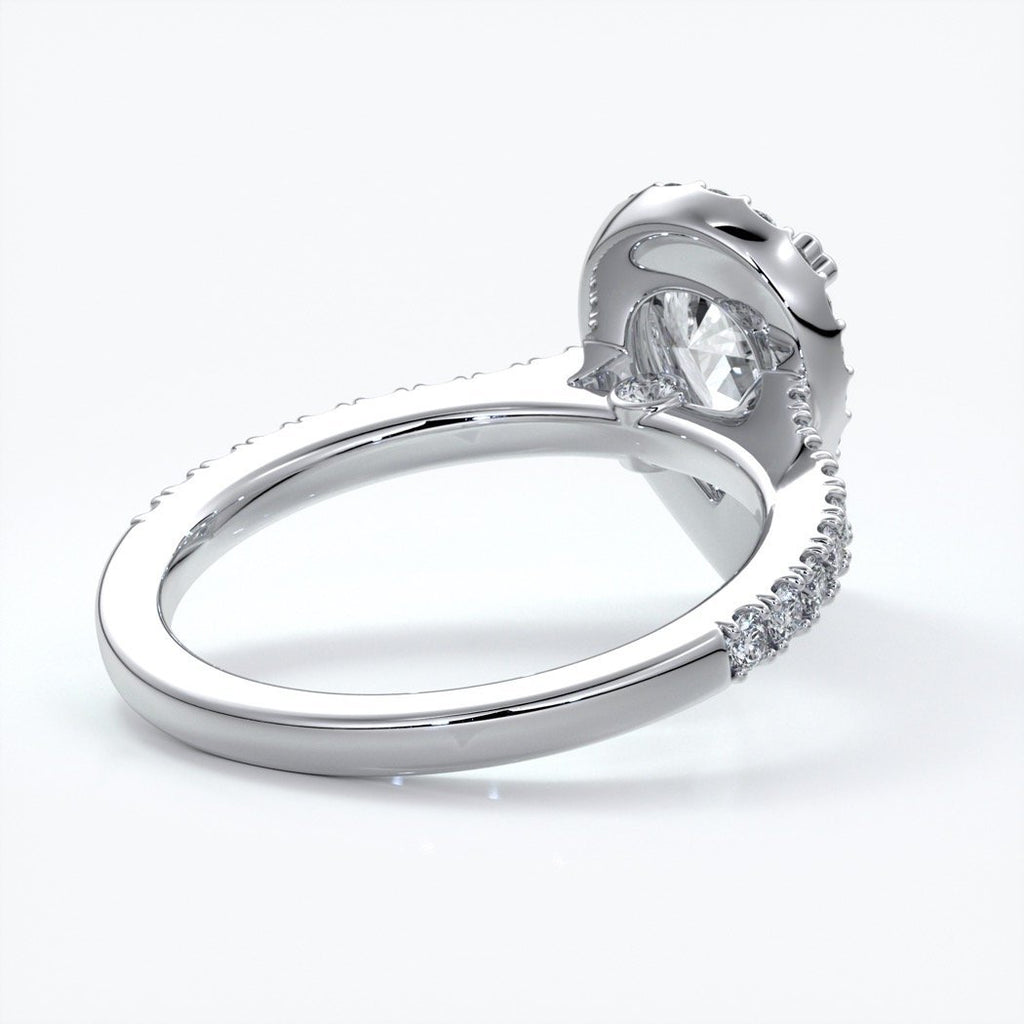 Alice Engagement Ring pear diamond band halo platinum