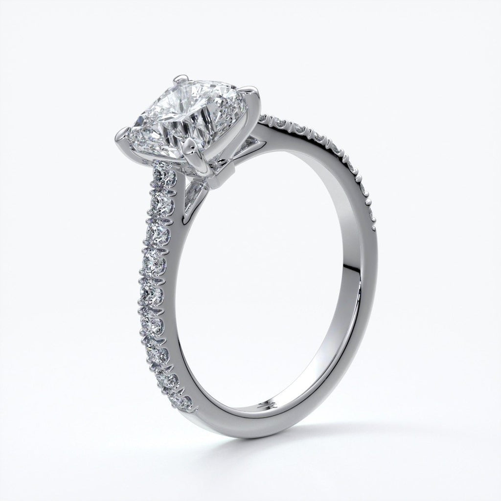 Alison Engagement ring cushion cut diamond 4 claw cathdral shoulder diamonds platinum