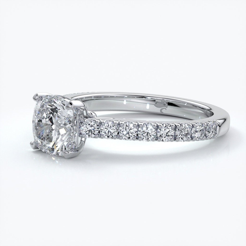 Beatrice Engagement ring cushion cut diamond cathedral 4 claw diamond band platinum