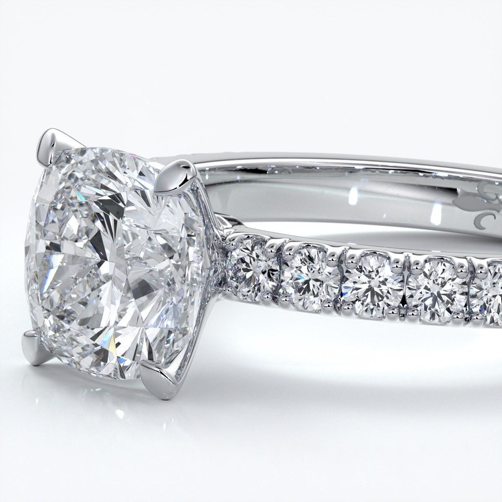 Belle Engagement ring cushion cut diamond 4 claw diamond band platinum