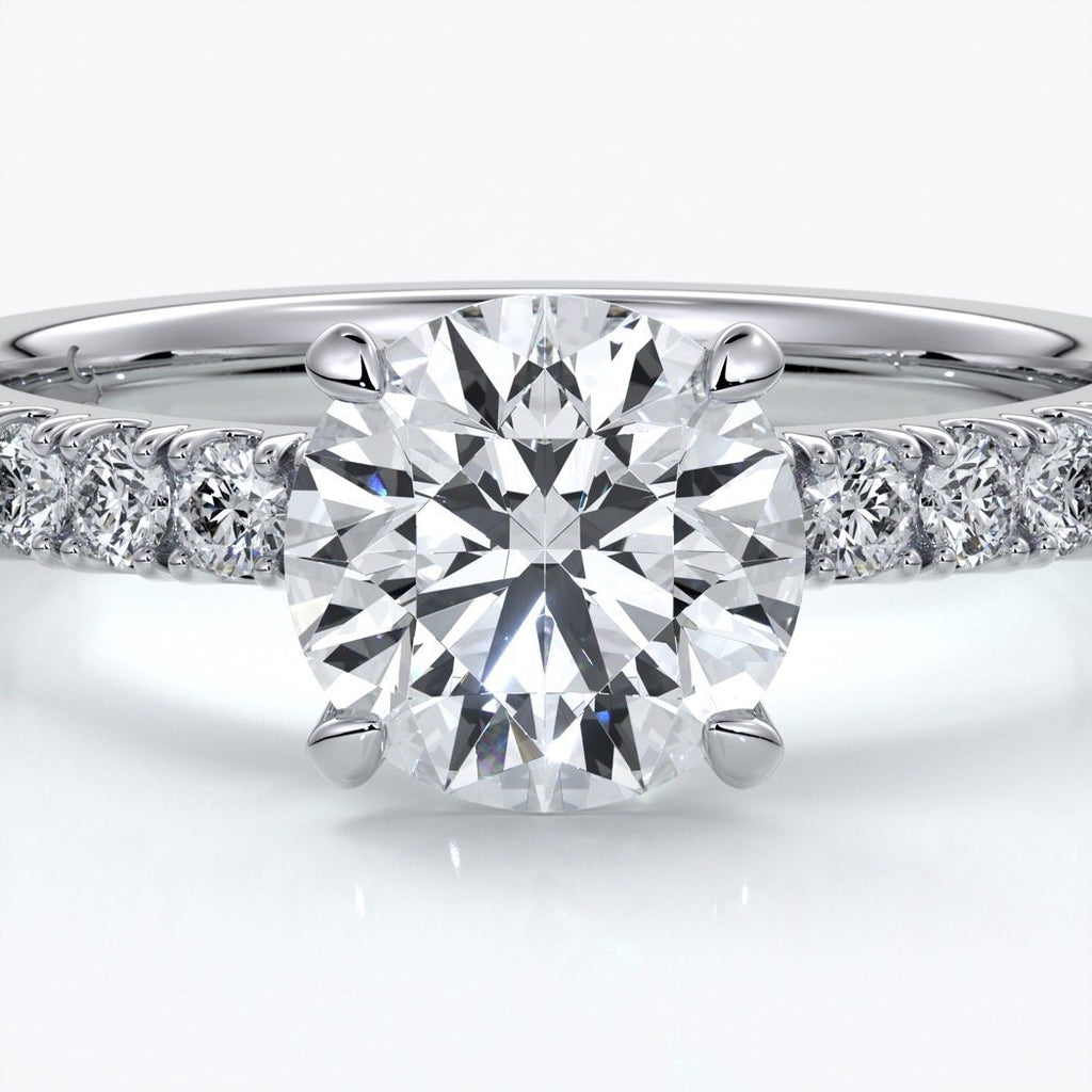Bridget Engagement ring round diamond 4 claw diamond band 18ct white gold