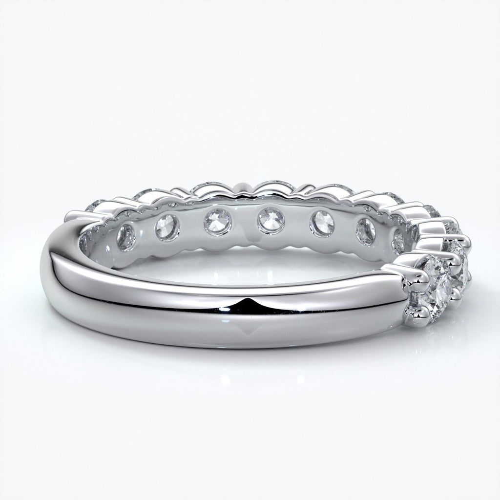 Cassandra Wedding ring scalloped diamond band 2 claws 3mm platinum