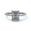 Daisy Engagement ring radiant diamond 4 claw 18ct white gold tapered