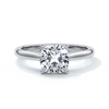 Esther Engagement ring cushion cut diamond 4 claw cathedral 18ct white gold band