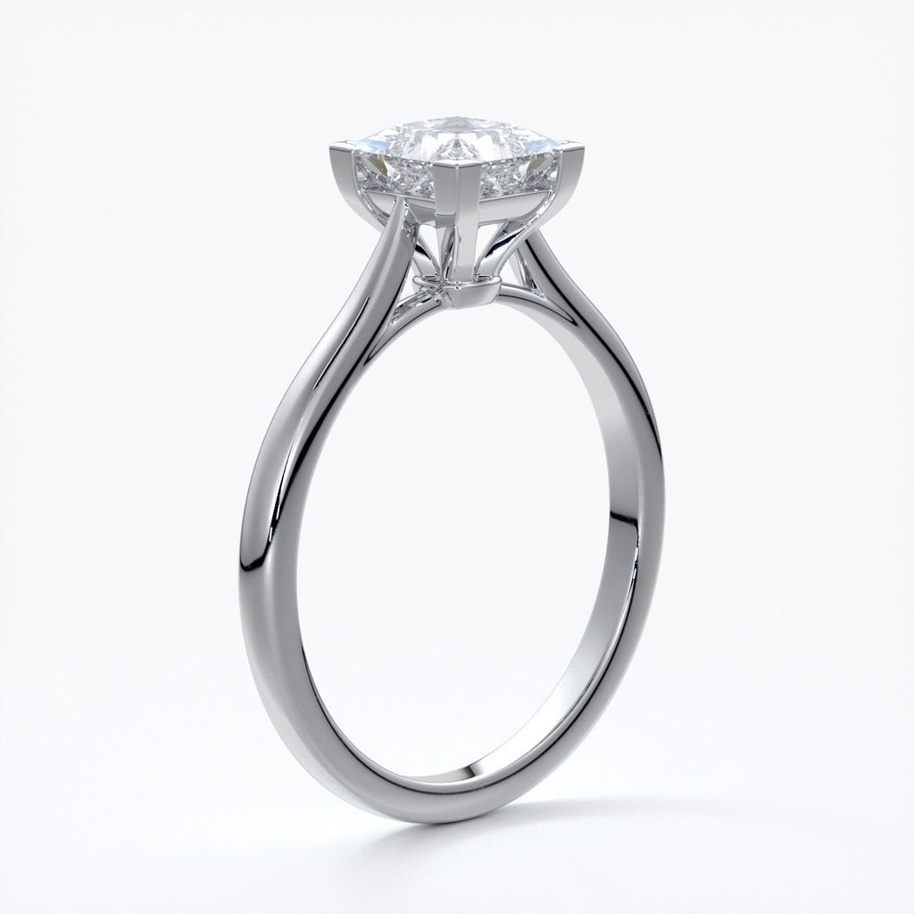 Henrietta Engagement ring princess diamond 4 claw cathedral platinum