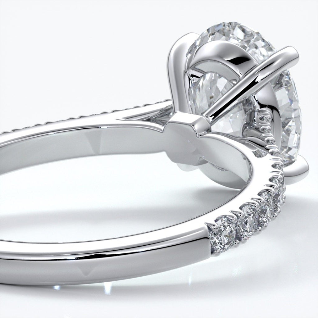 Isabella Engagement ring oval diamond 4 claw cathedral diamond band 18ct white gold