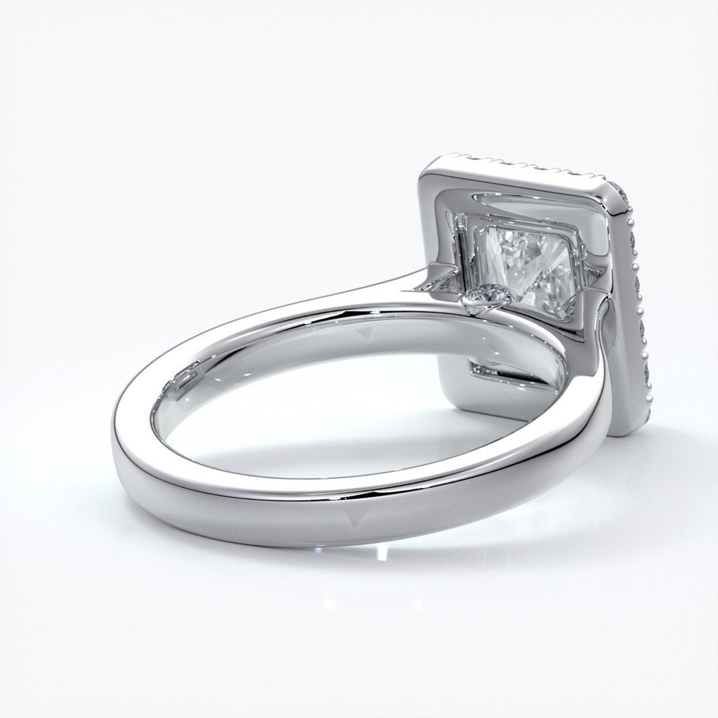 Ivy Engagement Ring radiant diamond band halo platinum