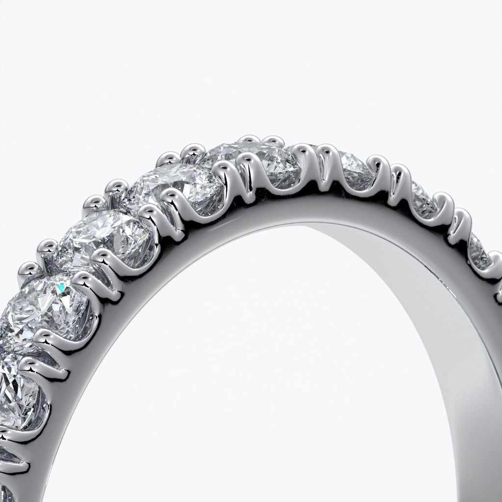 Laura Wedding ring brilliant cut scalloped 2mm 18ct white gold