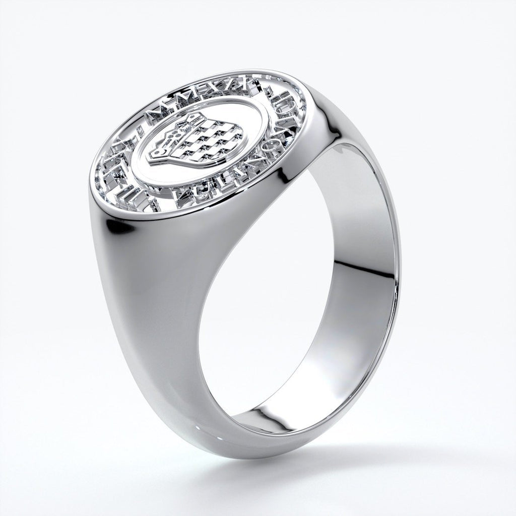 Liam Mens band round crest 18ct white gold