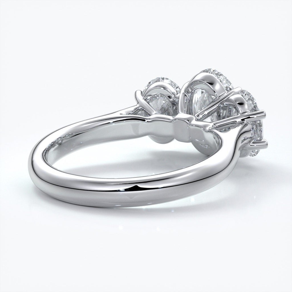 Vera Engagement ring oval trilogy straight platinum