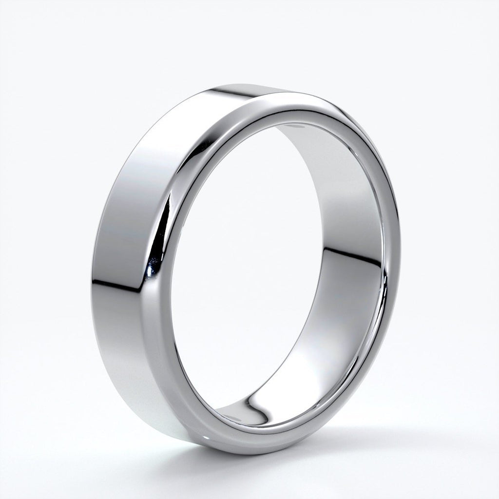 William Wedding ring 6mm bevel mens band 18ct white gold