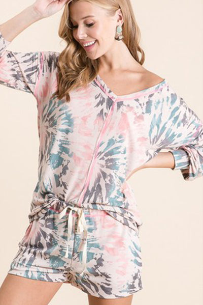 TIE DYE V-NECK LOUNGEWEAR -2 Pcs. SET